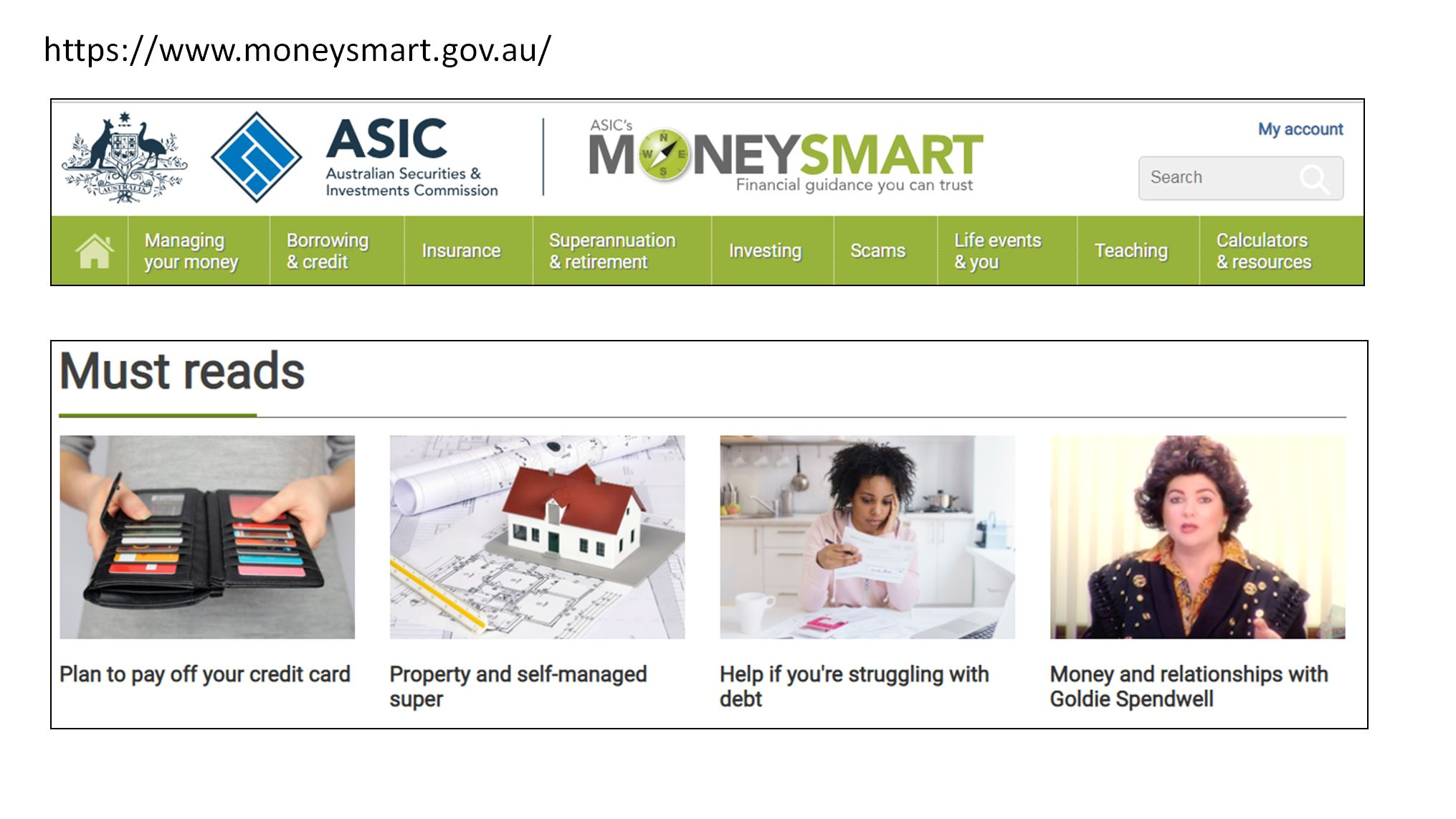 ASIC Moneysmart website